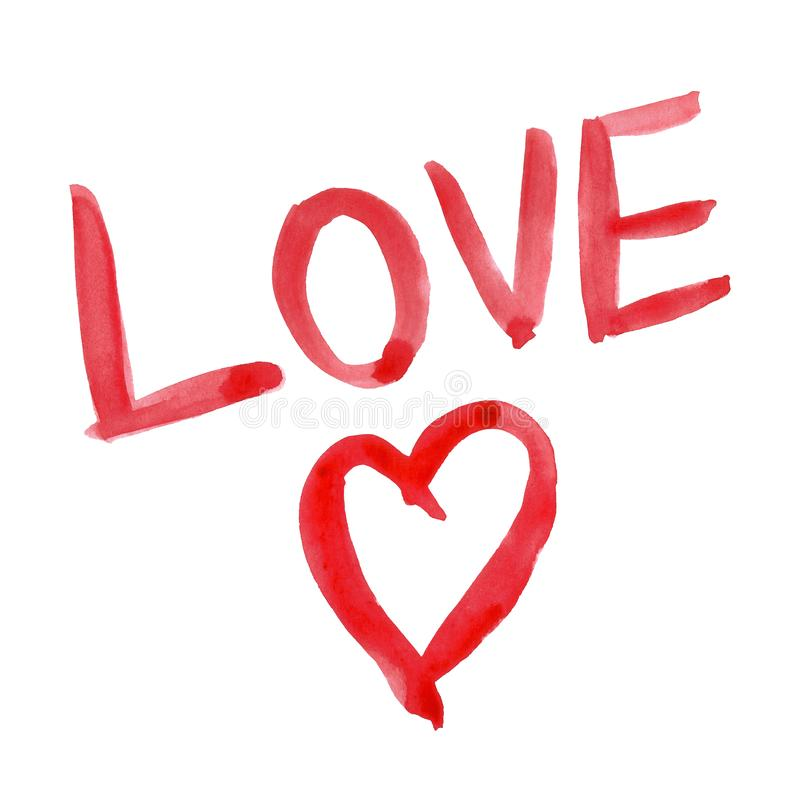 Akwareli walentynek dnia ręki i serca literowania słowa czerwona ręka malująca miłość zdjęcia stock