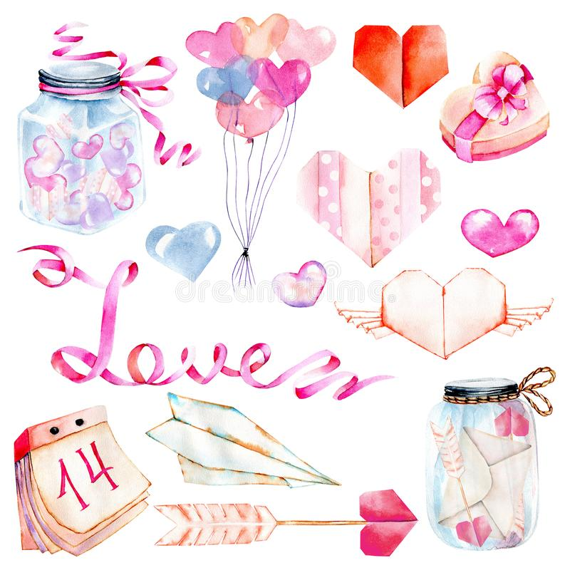 Akwareli walentynki ` s dnia elementy ustawiający: serce, origami, strzała, prezenta pudełko, lotniczy balony royalty ilustracja