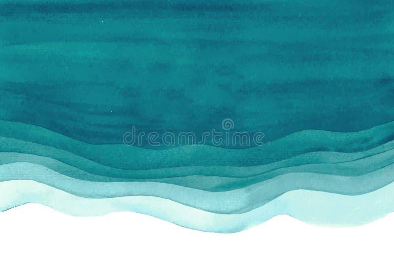 Akwareli watercolour oceanu błękitnej zieleni abstrakta denny tło zdjęcia stock