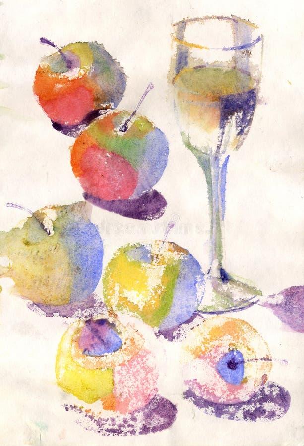 Akwareli wciąż życie z jabłkami w starym papierze royalty ilustracja