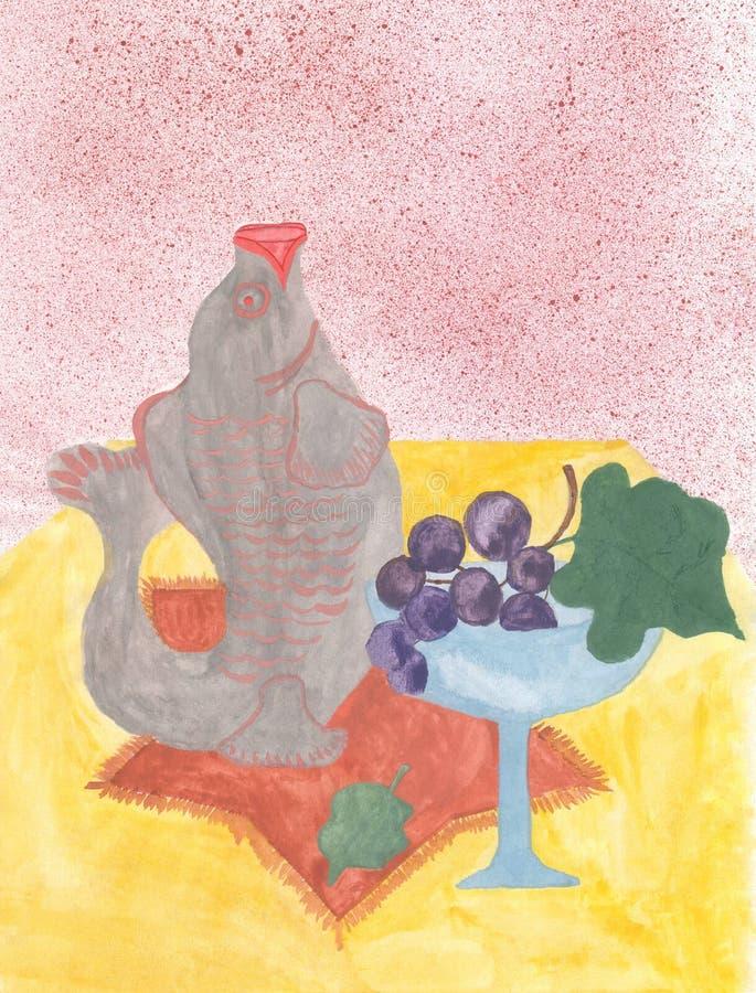 Akwareli wciąż życie z ryba szklane winogrona ilustracja wektor
