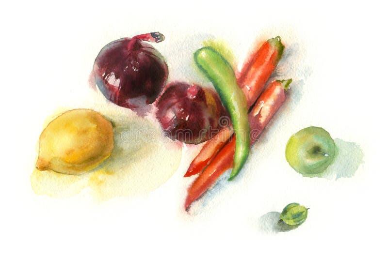 Akwareli wciąż życie z warzywami royalty ilustracja