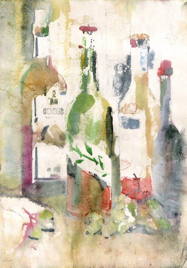 Akwareli wciąż życie z wino butelkami ilustracja wektor