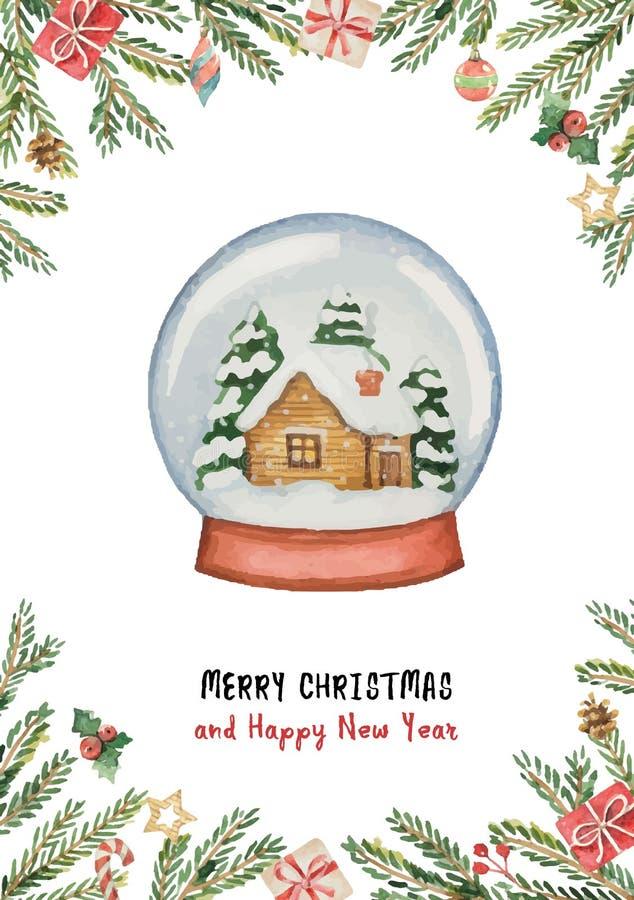 Akwareli wektorowy Bożenarodzeniowy kartka z pozdrowieniami z szklaną piłką, dom, świerczyn gałąź i prezenty, ilustracji