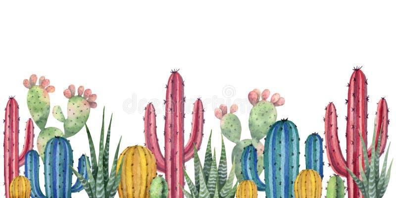 Akwareli wektorowy tło z pustynią i kaktusami royalty ilustracja