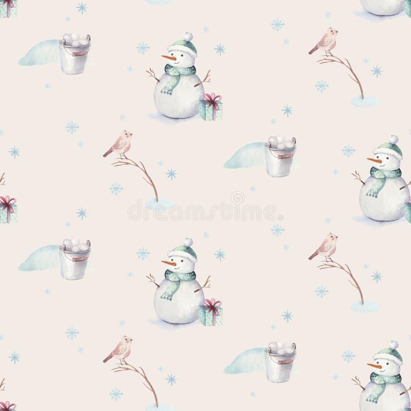 Akwareli Wesoło bożych narodzeń bezszwowi wzory z bałwanem, wakacyjni śliczni zwierzęta rogacze, królik świętuje świętowania boży fotografia stock