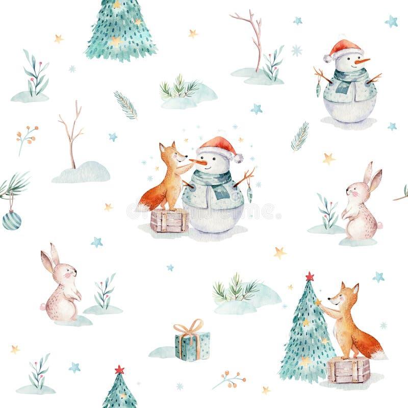 Akwareli Wesoło bożych narodzeń bezszwowi wzory z prezentem, bałwanem, wakacyjnymi ślicznymi zwierzętami lisy, królikiem i jeżem, royalty ilustracja