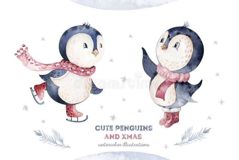 Akwareli wesoło bożych narodzeń charakteru pingwinu ilustracja Zima projekta kreskówka odizolowywająca śliczna śmieszna zwierzęca royalty ilustracja