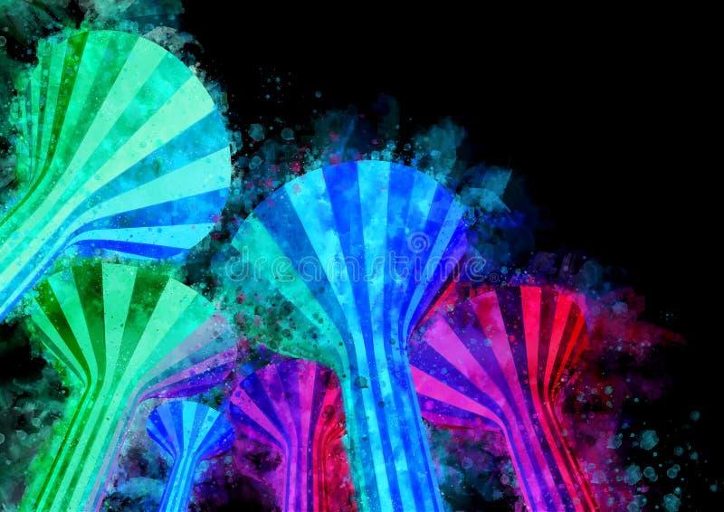 Akwareli wież ciśnień Nighttime Iluminujący punkty zwrotni Kuwa royalty ilustracja