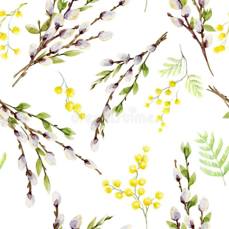 Akwareli wierzbowego drzewa wektorowy wzór ilustracji