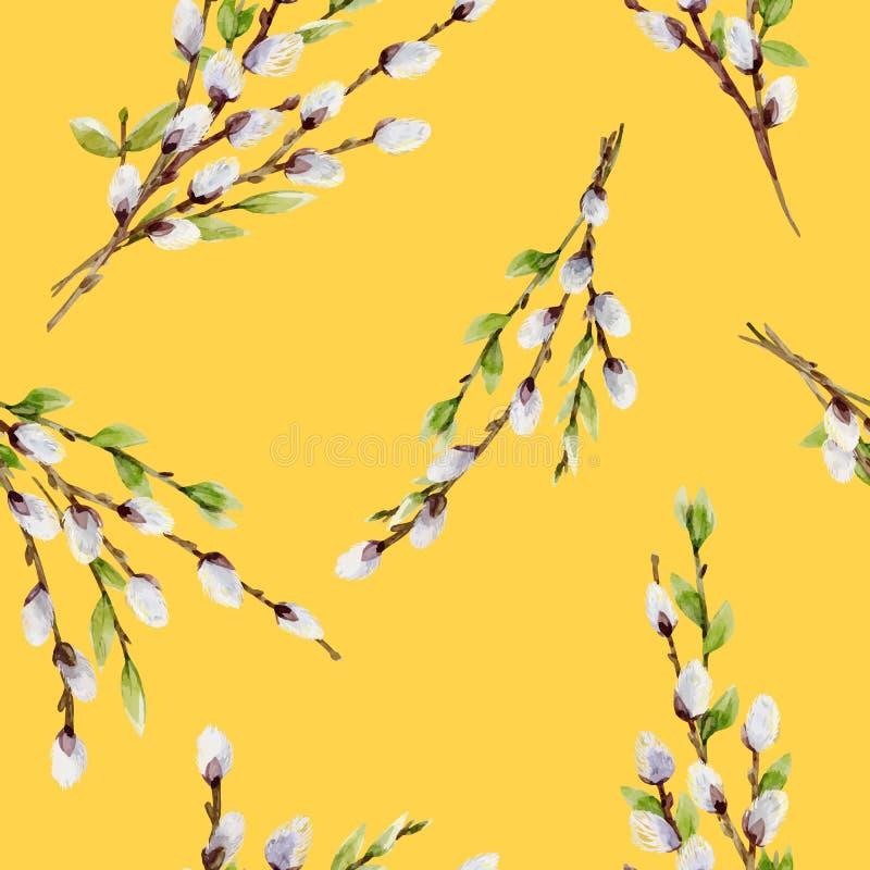 Akwareli wierzbowego drzewa wektorowy wzór ilustracja wektor