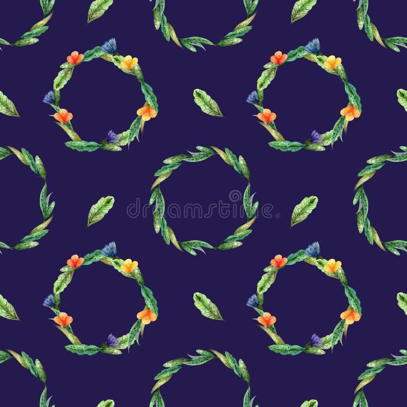 Akwareli wildflowers Bezszwowy wzór z wiankami kolor żółty i pomarańcze kwitnie na zmroku - błękit royalty ilustracja
