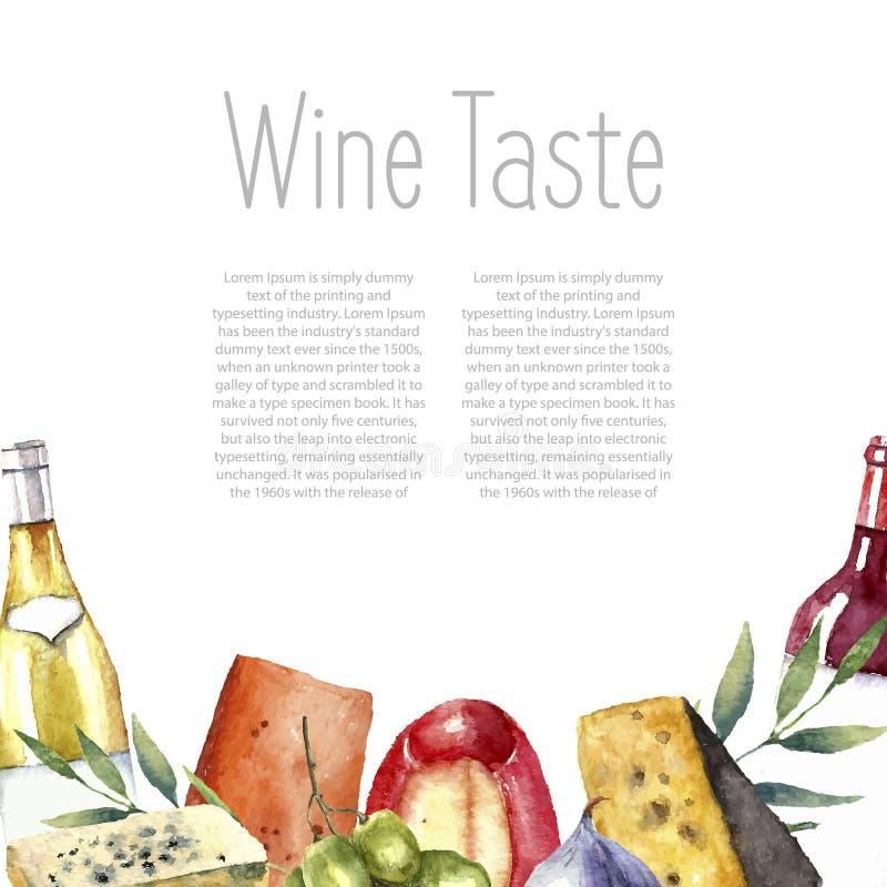 Akwareli wino i ser rama ilustracji