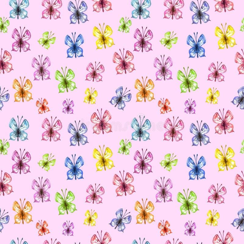 Akwareli wiosna i lato motyli bezszwowy wzór na różowym tle royalty ilustracja