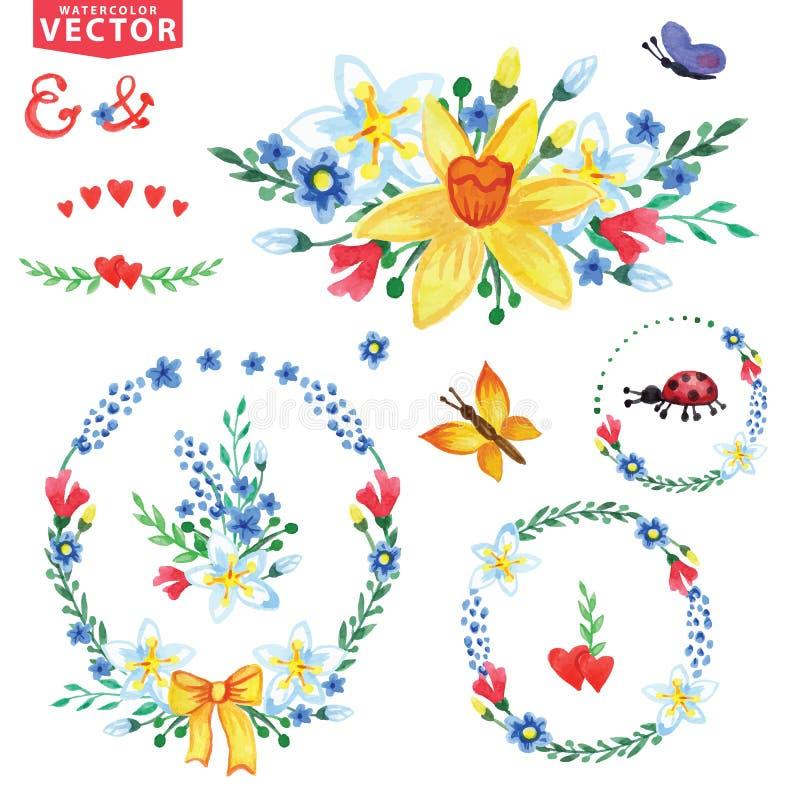 Akwareli wiosna kwitnie wianki, grupa ilustracja wektor