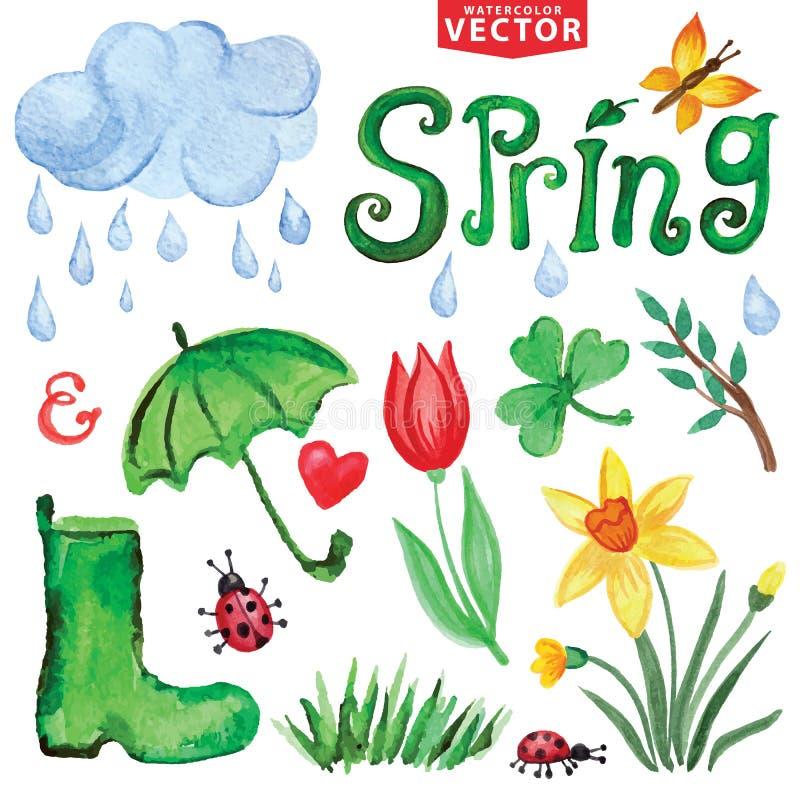 Akwareli wiosny ikony Chmury, słowo, opuszczają ilustracja wektor