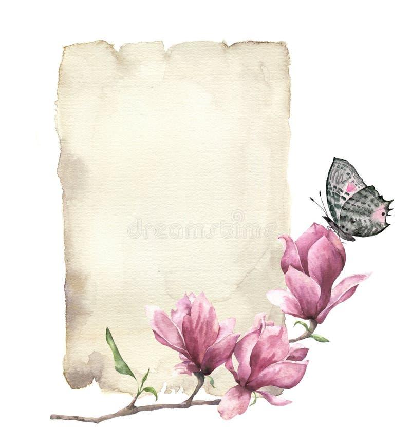 Akwareli wiosny karta z magnolią i motylem Ręka malował papierową teksturę z insektem i kwiecistym projektem odizolowywającymi da ilustracja wektor