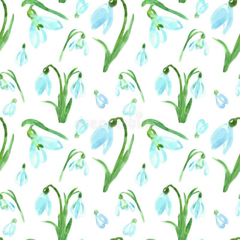 Akwareli wiosny kwiecisty bezszwowy wzór z błękitnymi śnieżyczkami kwitnie na białym tle Jaskrawy botaniczny druk dla projekta fotografia stock