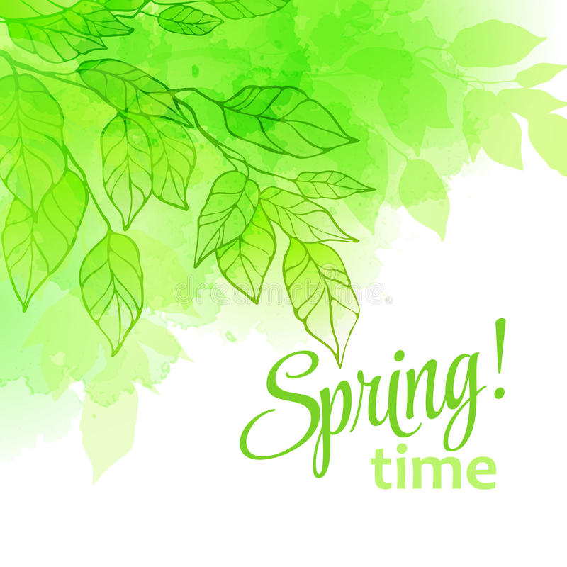 Akwareli wiosny liście również zwrócić corel ilustracji wektora royalty ilustracja
