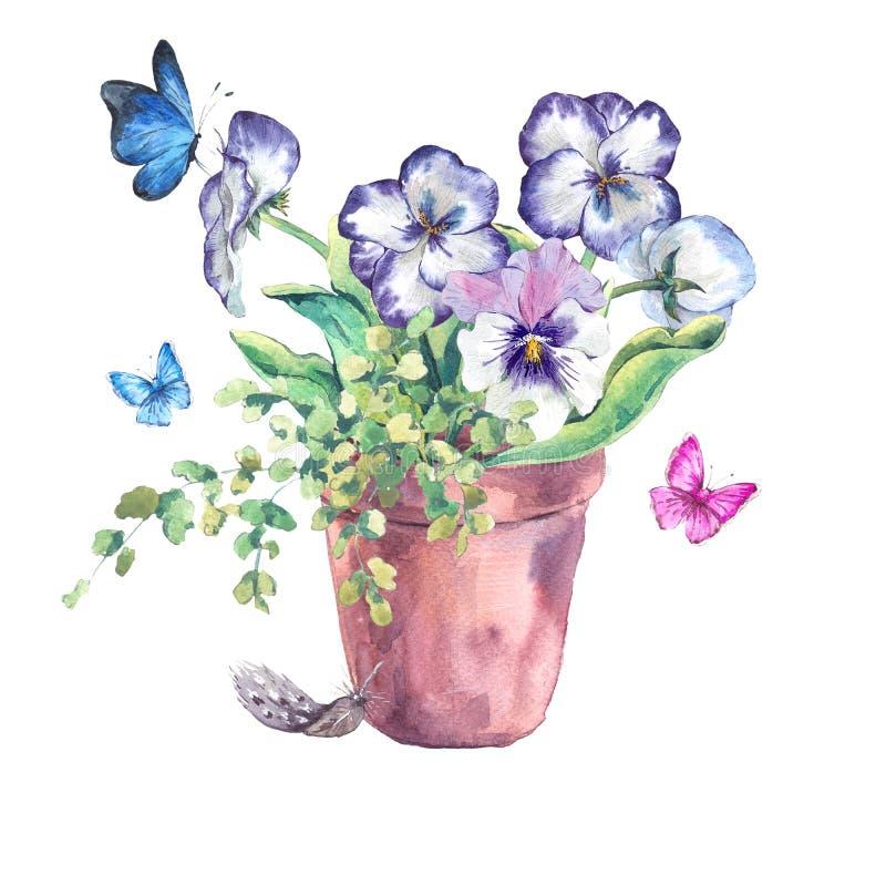 Akwareli wiosny Ogrodowy bukiet w kwiatów garnkach ilustracja wektor