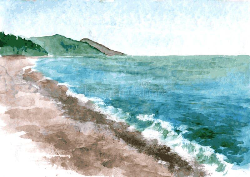 Akwareli wybrzeże morze ilustracji
