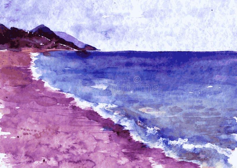 Akwareli wybrzeże morze ilustracja wektor