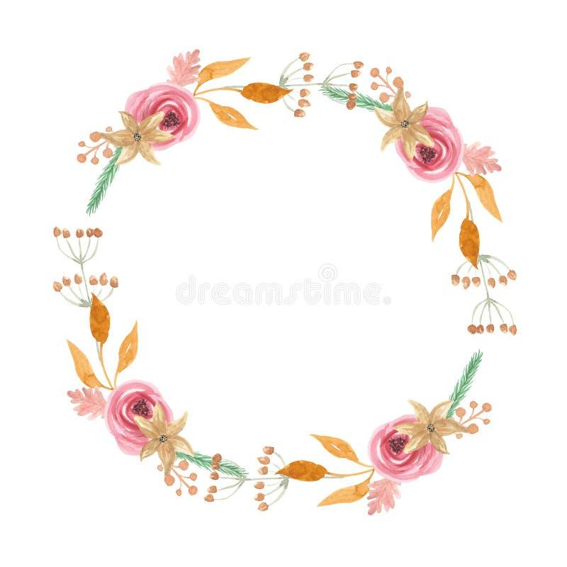 Akwareli Yule jagod kwiatów Bożenarodzeniowej zimy wianku Kwiecista girlanda ilustracja wektor