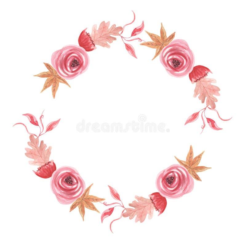 Akwareli Yule jagod kwiatów Bożenarodzeniowej zimy wianku Kwiecista girlanda ilustracji