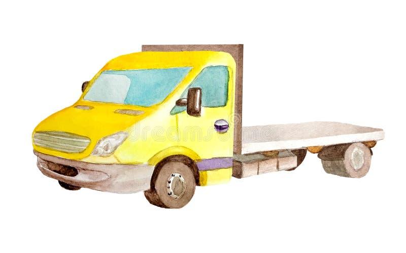 Akwareli z platformą lub holownicza żółta ciężarówka na białym tle odizolowywającym dla pocztówek, wizytówki ilustracji