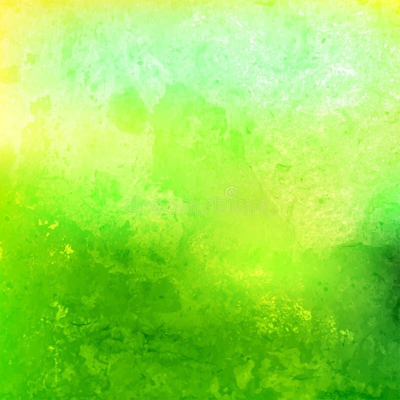Akwareli zieleń Tło Plamy farba royalty ilustracja