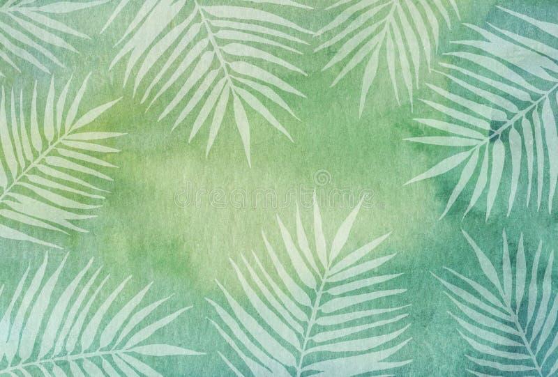 Akwareli zielony tło z białymi palmowymi liśćmi royalty ilustracja