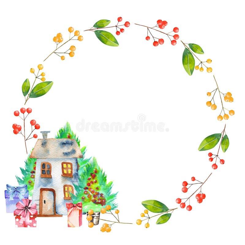 Akwareli zimy jagod czerwone rośliny, prezentów pudełka, choinki i homely domowy wianek, royalty ilustracja