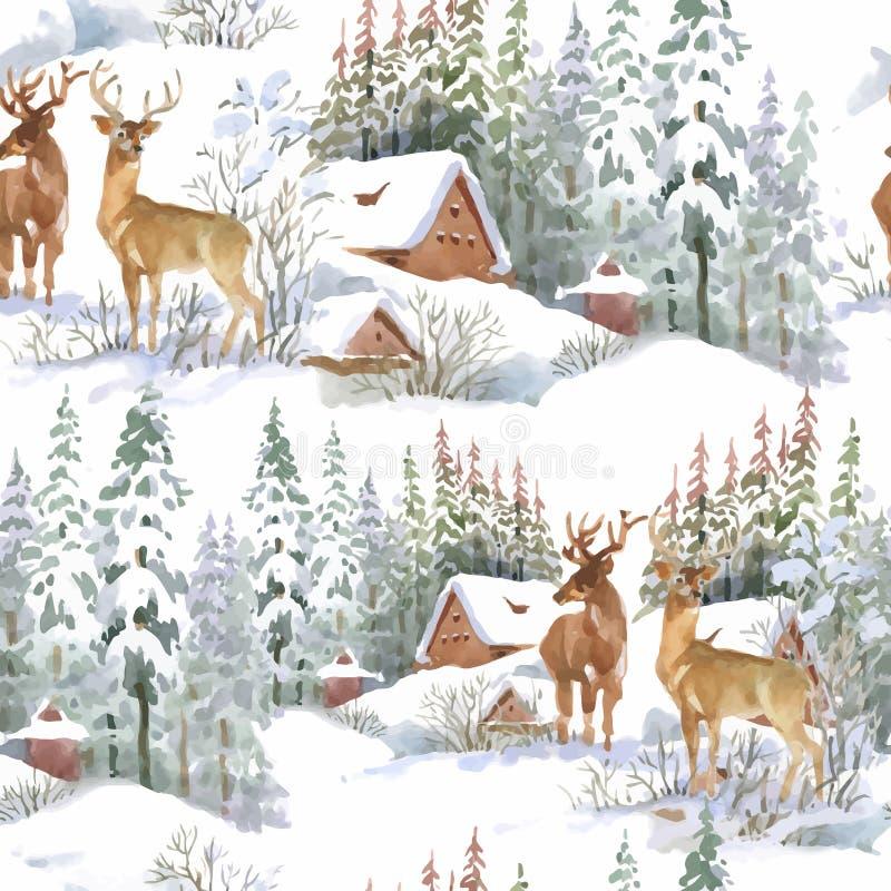 Akwareli zimy lasu krajobraz, wektorowa ilustracja, bezszwowy wzór royalty ilustracja