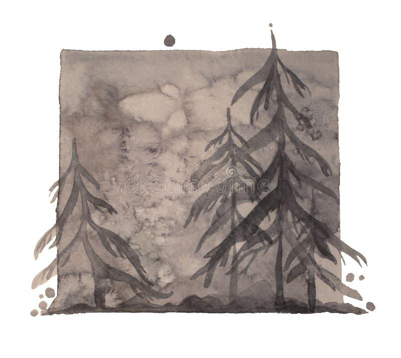 Akwareli zimy szary depressive las, odizolowywający głębocy szarzy drewna ilustracyjni ilustracja wektor