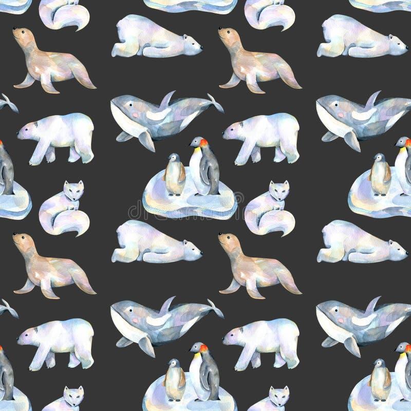 Akwareli zwierząt ślicznych biegunowych ilustracj bezszwowy wzór royalty ilustracja