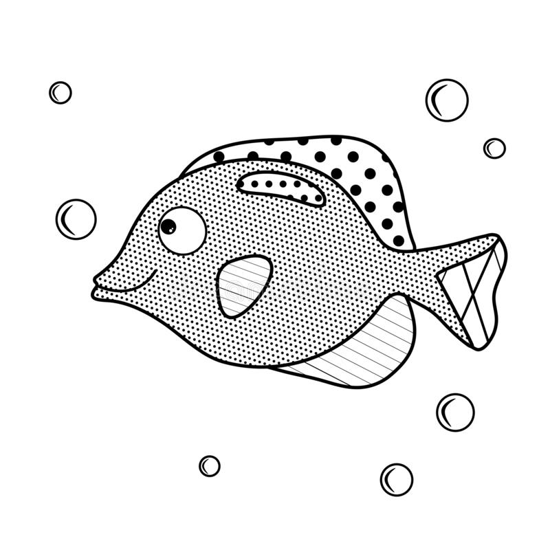 akwarium czarny rysunku ryba linia biel Kolorystyki książka z mieszkanem morze Wektorowy charakter w zenart stylu Prosta strona d ilustracja wektor