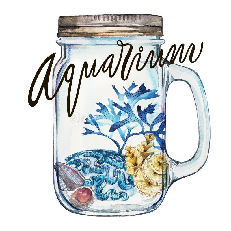 Akwarium Skład gałęzatki denny życie i korala przedmiot odizolowywający na białym tle Akwareli ręka rysująca ilustracji