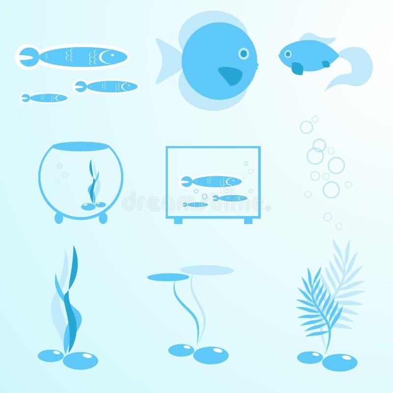 Akwarium wektorowego akwarium tropikalne rybie ikony wektorowe ilustracji