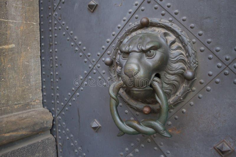 Alça de porta em forma de leão fotos de stock