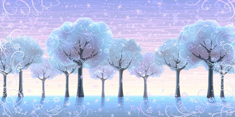 Aléia da árvore do inverno ilustração stock