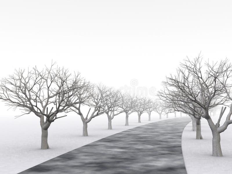 Aléia das árvores no embaçamento enevoado ilustração do vetor