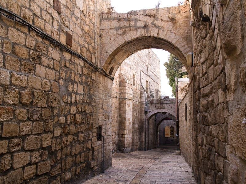 Aléia velha da cidade de Israel - de Jerusalem fotografia de stock