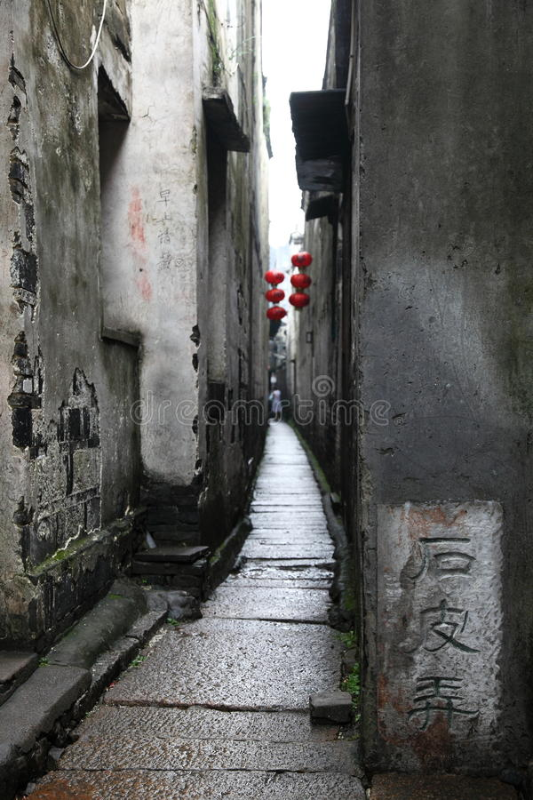 Aléia velha em Xitang foto de stock