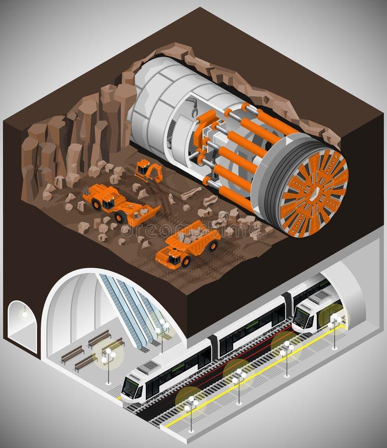 Aléseuse de tunnel à la construction illustration libre de droits