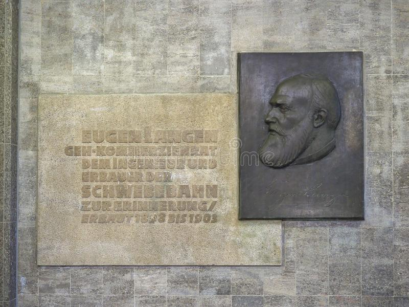 alívio do engenheiro Eugen Langen que projetou o Suspe Wuppertal fotografia de stock royalty free