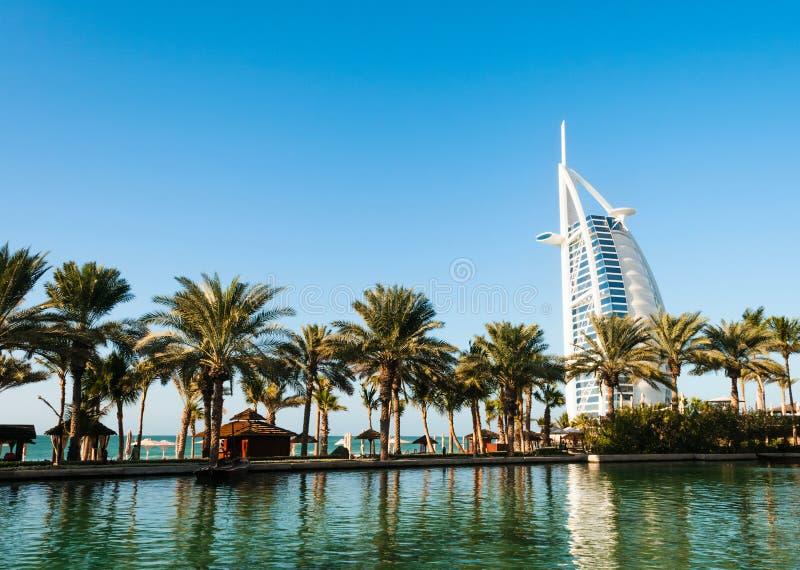 Al阿拉伯burj迪拜旅馆jumeira阿拉伯联合酋长国 库存照片