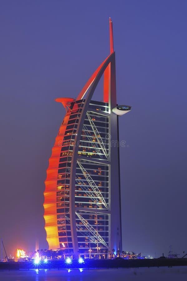 Al阿拉伯burj迪拜酋长管辖区旅馆团结了 免版税库存照片