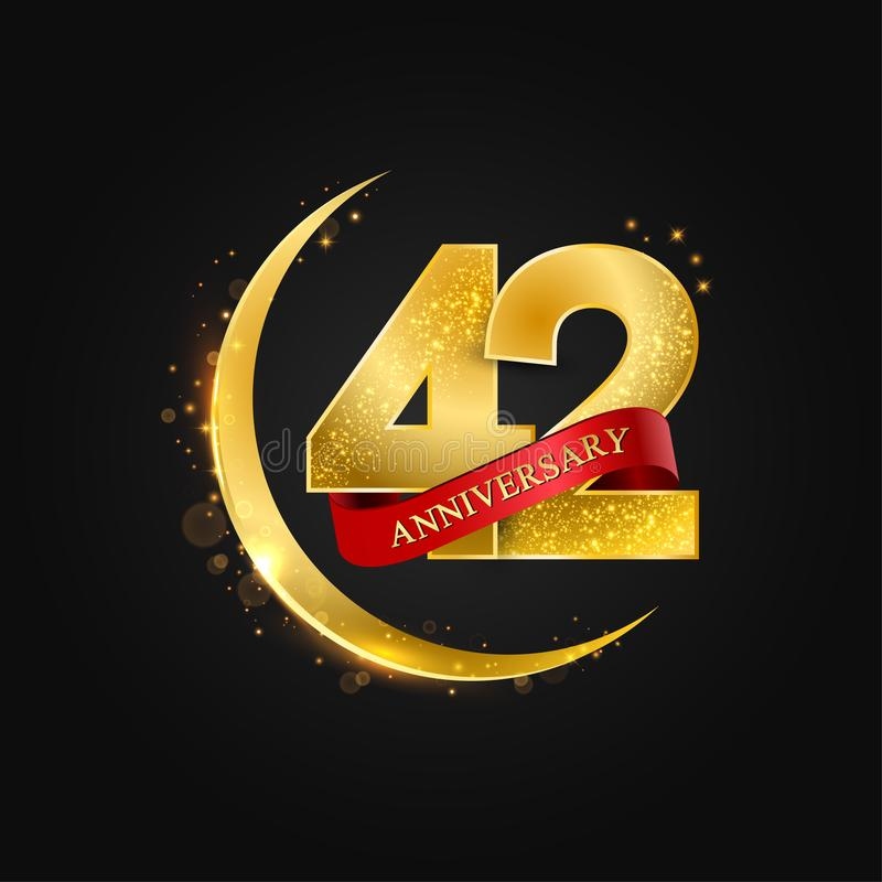Al Adha Eid 42 έτη επετείου Το σχέδιο με το αραβικό χρυσό, χρυσό μισό φεγγάρι και ακτινοβολεί απεικόνιση αποθεμάτων