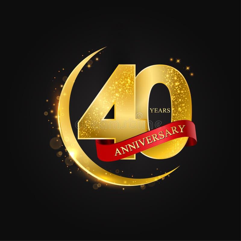 Al Adha Eid 40 έτη επετείου Το σχέδιο με το αραβικό χρυσό, χρυσό μισό φεγγάρι και ακτινοβολεί διανυσματική απεικόνιση