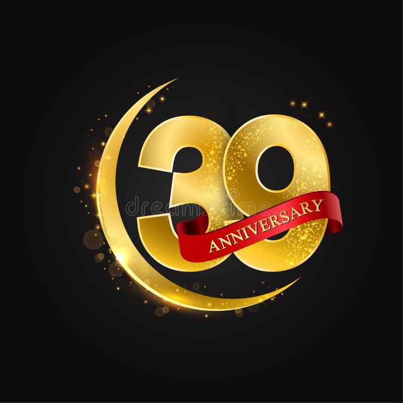 Al Adha Eid 39 έτη επετείου Το σχέδιο με το αραβικό χρυσό, χρυσό μισό φεγγάρι και ακτινοβολεί διανυσματική απεικόνιση